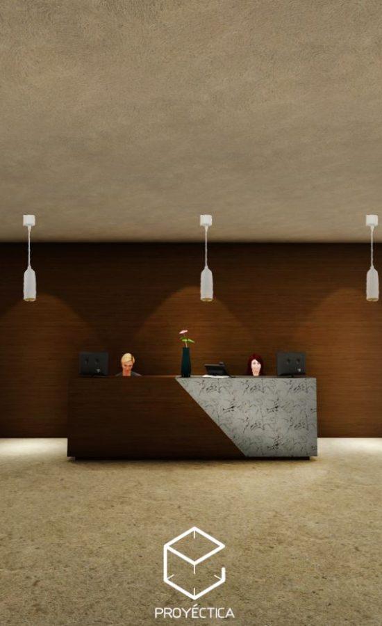 recepcion 3d diseño render proyectica arquitectos